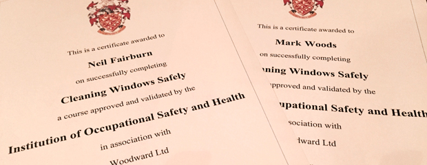 window cleaning certificates